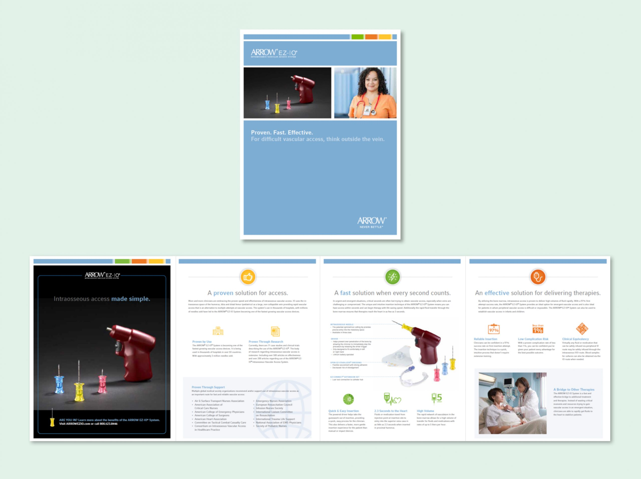 A multi-page brochure with medical illustrations about EZ-IO