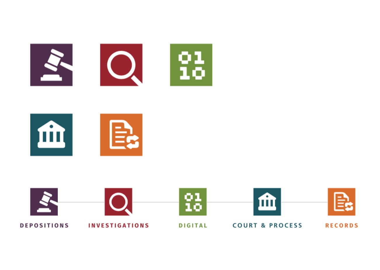 Logos of First Legal's different departments