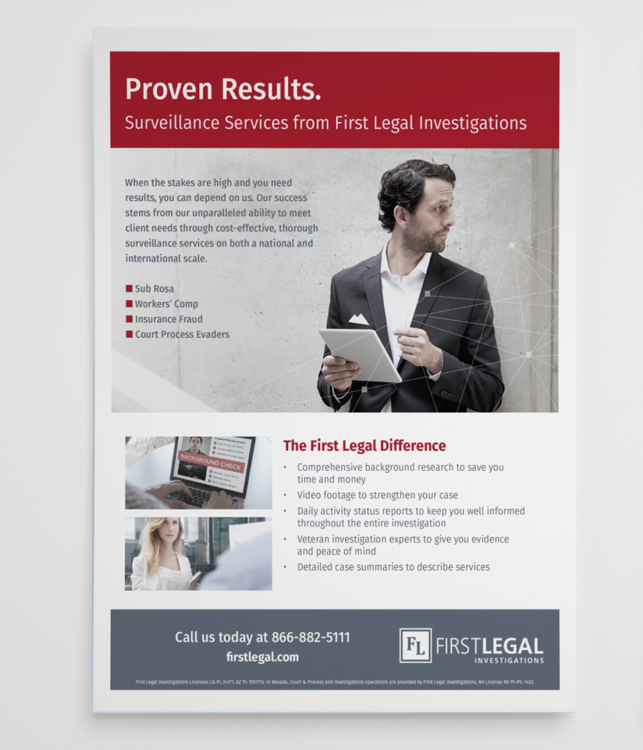 One-sheet flyer. Picture is of a suited lawyer looking at a tablet