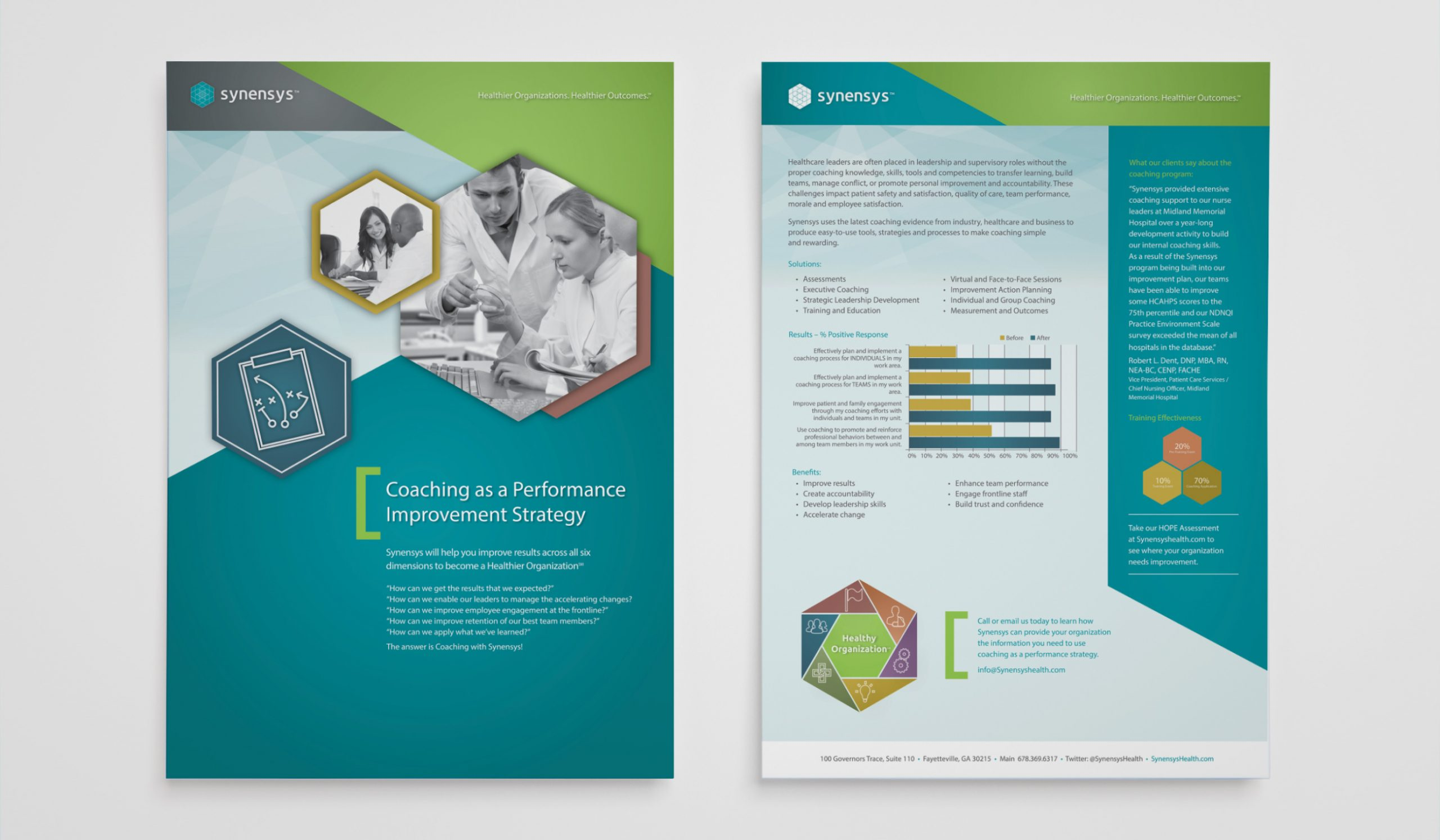 brochures offering data, charts and figures of Synensys strategy